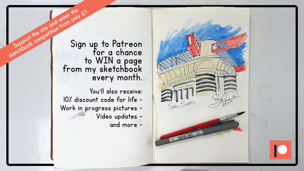 Sketchbook giveaway by Steve Stewart and Football Stadium Prints