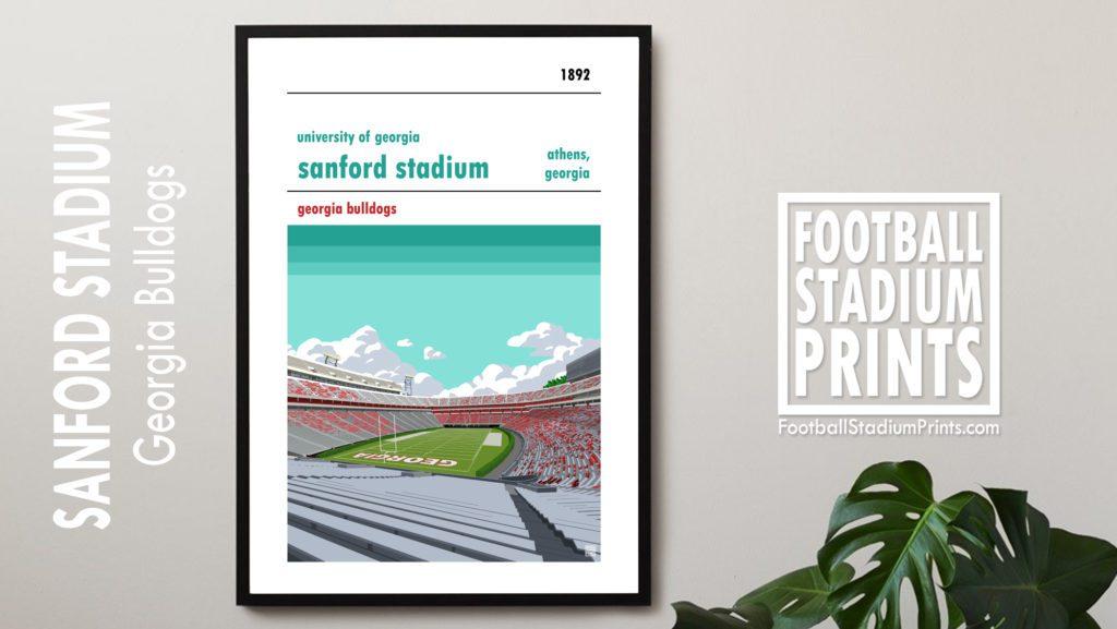 Framed Georgia Bulldogs and Sanford Stadium Football Poster