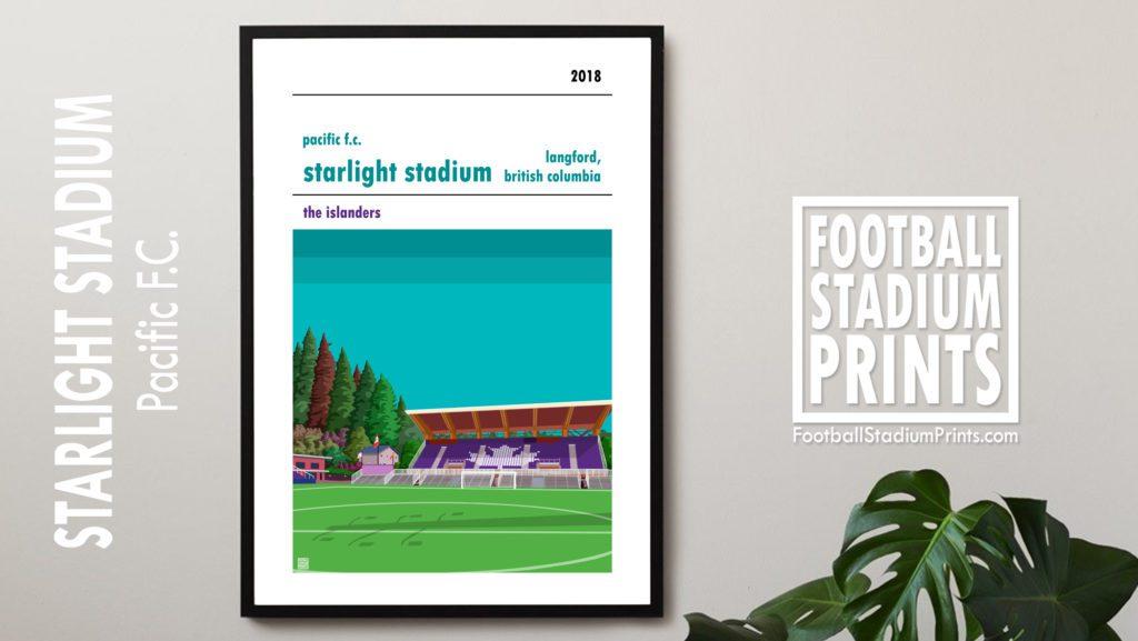 Framed football print of Pacific FC and Starlight Stadium
