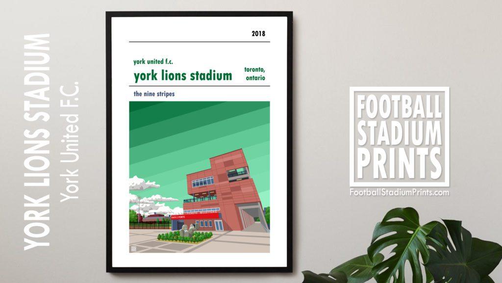 Framed football print of York United FC and the York Lions Stadium