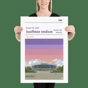 Large Kauffman Stadium Spirals and Kansas City Royals Baseball Poster