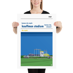 Large Kauffman Stadium and Kansas City Royals Baseball Poster