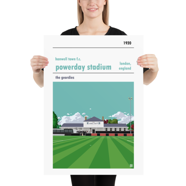Large football poster of Hanwell Town and Powerday Stadium