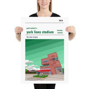 Large York Lions Stadium and York United FC football poster