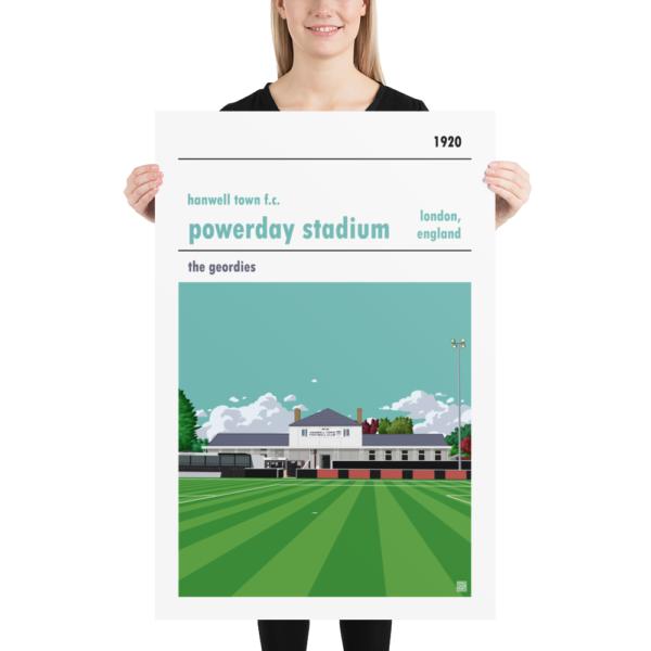 Huge football poster of Hanwell Town and Powerday Stadium