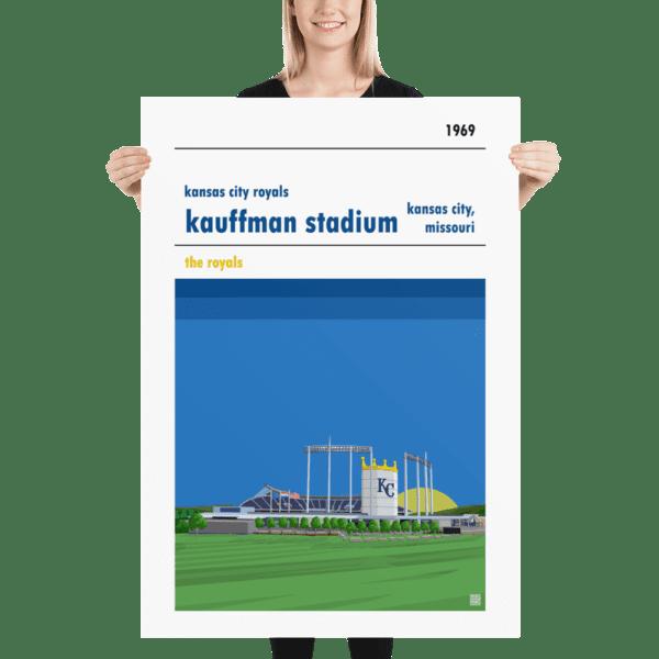 Huge Kauffman Stadium and Kansas City Royals Baseball Poster