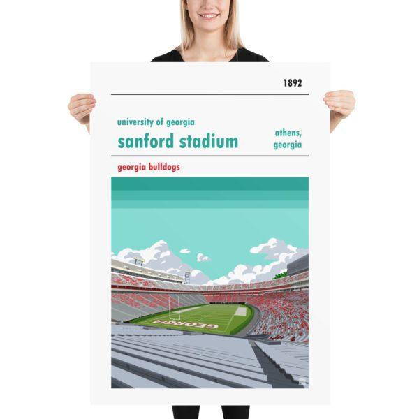Massive Georgia Bulldogs and Sanford Stadium football poster