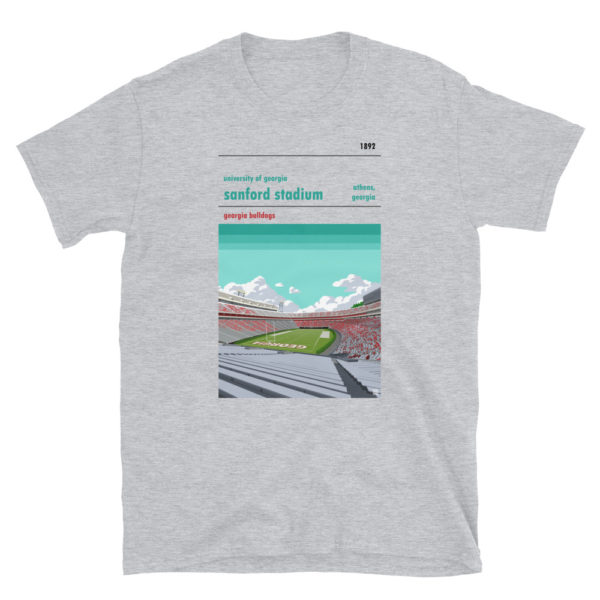 Gray Georgia Bulldogs and Sanford Stadium t-shirt