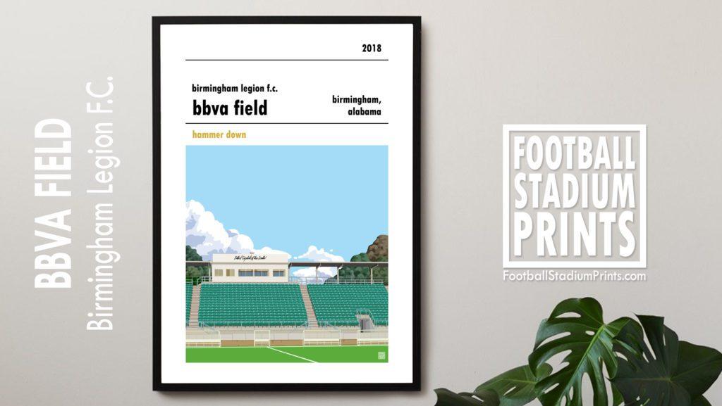 Framed Football poster of Birmingham Legion FC and the BBVA Field