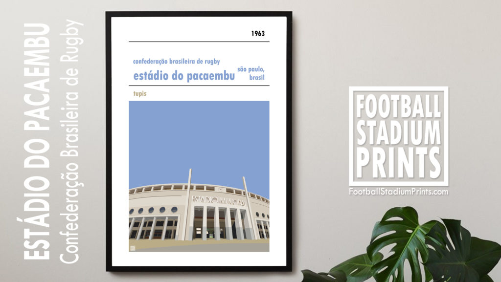 Framed Rugby poster of the Brazilian national rugby team and Estadio Municipal Sao Paulo