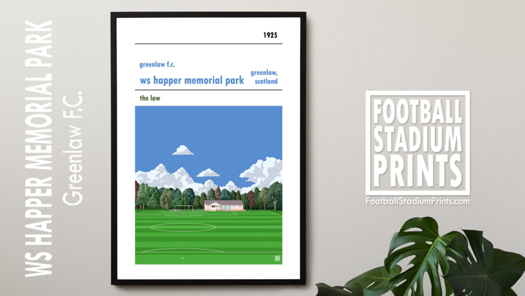 Framed football poster of Greenlaw FC and Happer Park
