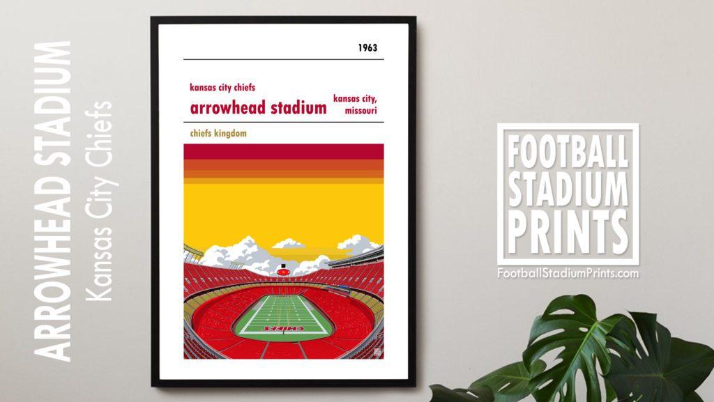Kansas City Chiefs and Arrowhead Stadium Framed Football Print