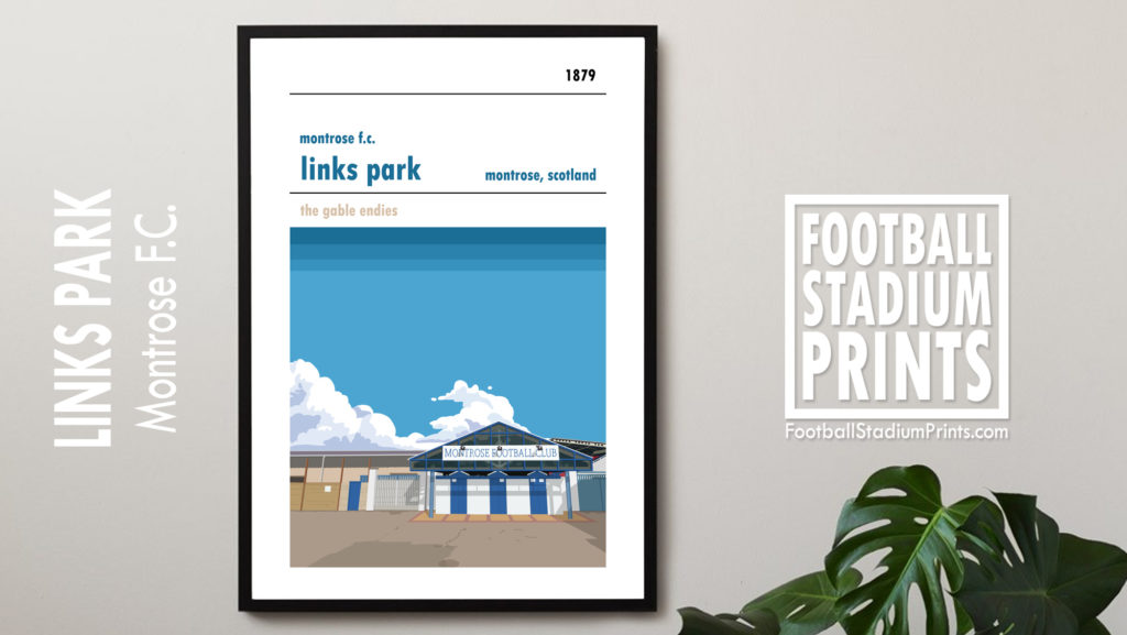 Framed football print of Links Park and Montrose FC