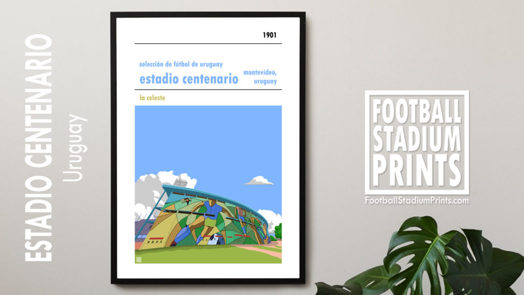 Framed Football poster of Uruguay National Team and Estadio Centenario