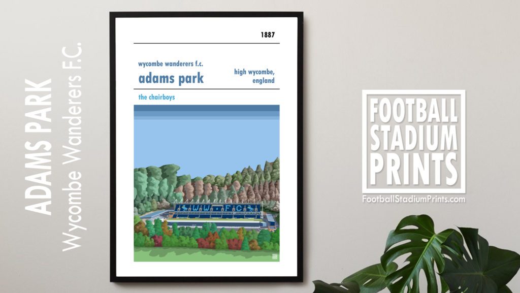 Framed football poster of Wycombe Wanderers and Adams Park