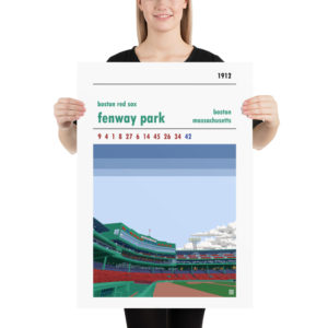Large baseball poster of Fenway Park and Boston Red Sox