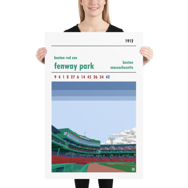 Huge baseball poster of Fenway Park and Boston Red Sox