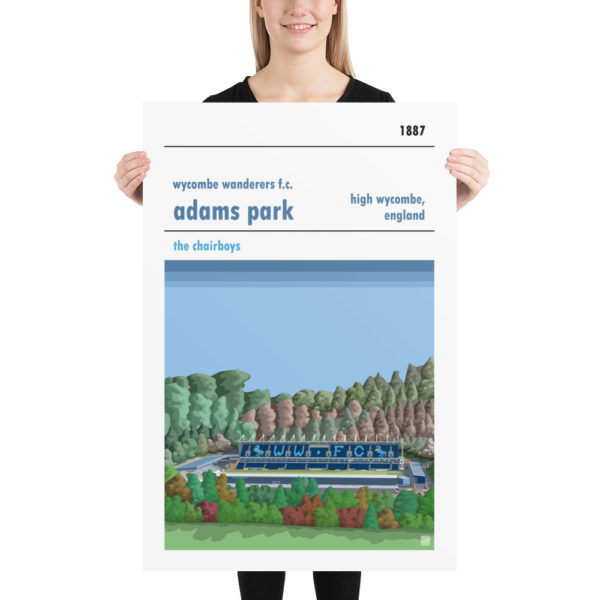 Huge football poster of Wycombe Wanderers and Adams Park