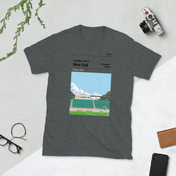 Dark gray Birmingham Legion and BBVA Field t-shirt