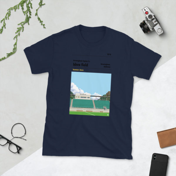 Navy Birmingham Legion and BBVA Field t-shirt