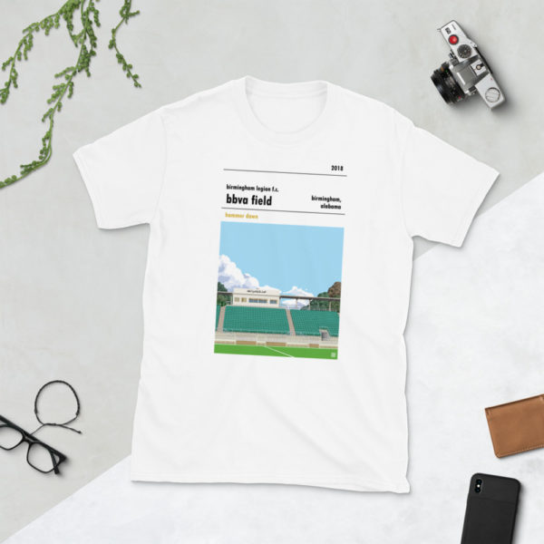White Birmingham Legion and BBVA Field t-shirt