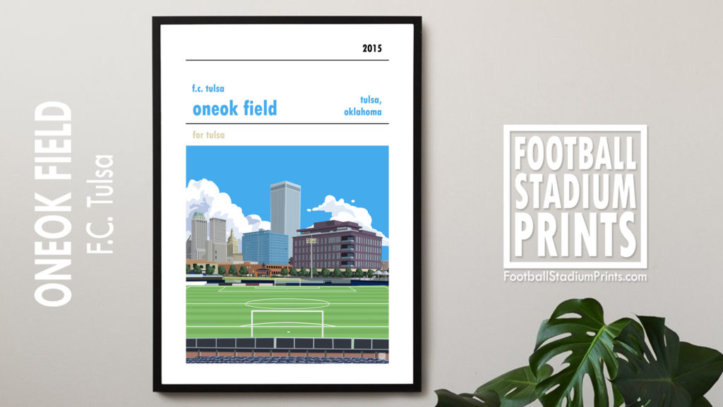 Framed Soccer Poster of FC Tulsa and ONEOK Field