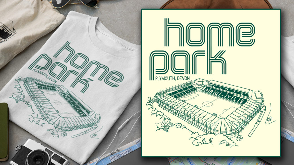 Home Park and Plymouth Argyle Fine Line Design T-shirt