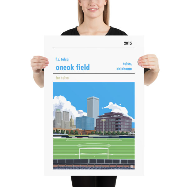 Matte ONEOK Field and FC Tulsa football poster