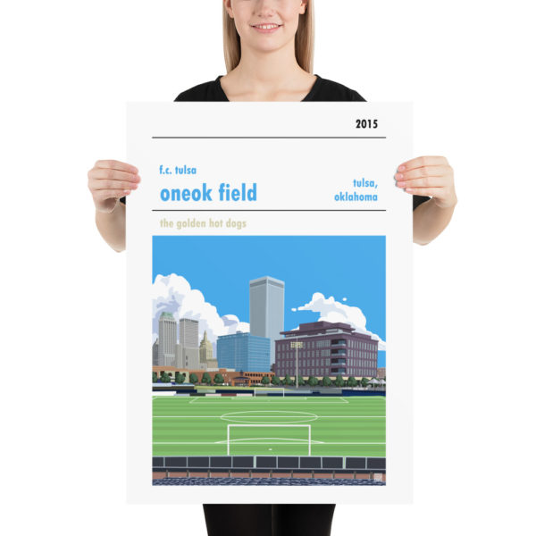 Large ONEOK Field and FC Tulsa football poster