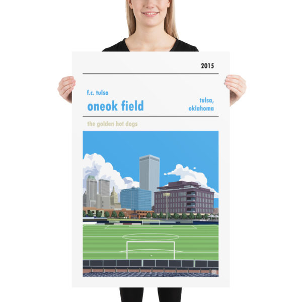 Huge ONEOK Field and FC Tulsa football poster