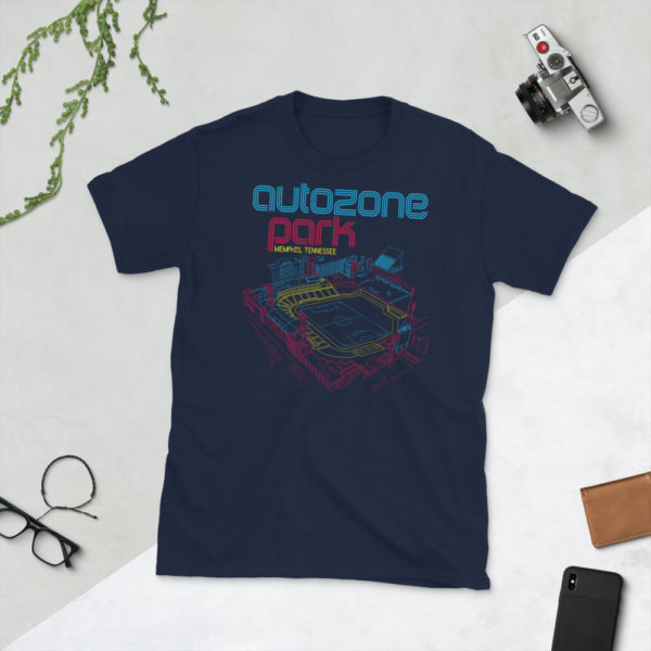 Navy AutoZone Park and Memphis 901 FC T-Shirt
