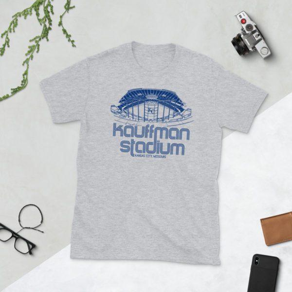 Gray Kauffman Stadium and Kansas City Royals T-Shirt