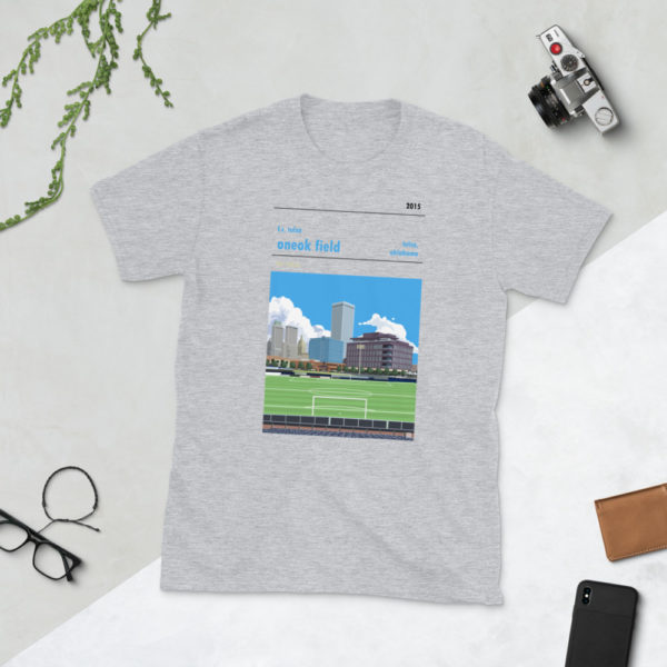 Gray ONEOK Field and FC Tulsa t-shirt