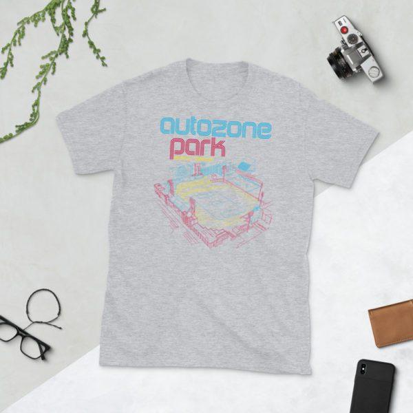 Gray AutoZone Park and Memphis 901 FC T-Shirt