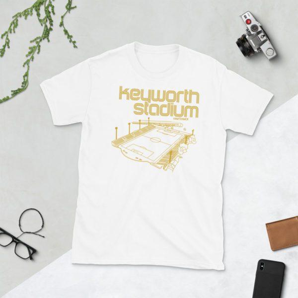 White and Gold Keyworth Stadium and Detroit City FC t-shirt