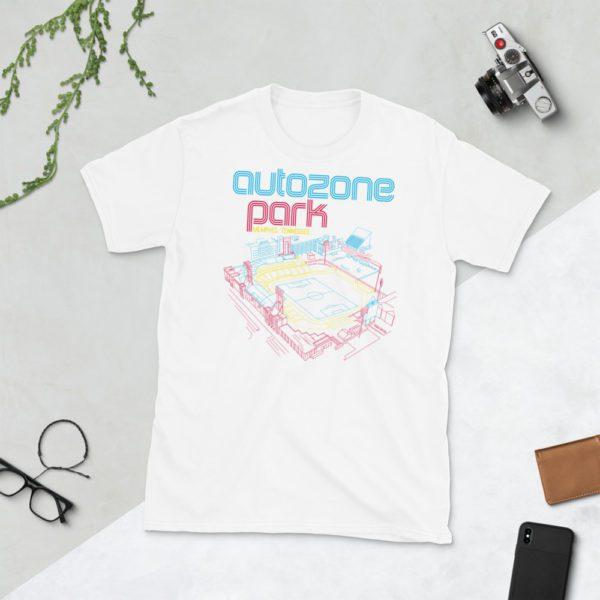 White AutoZone Park and Memphis 901 FC T-Shirt