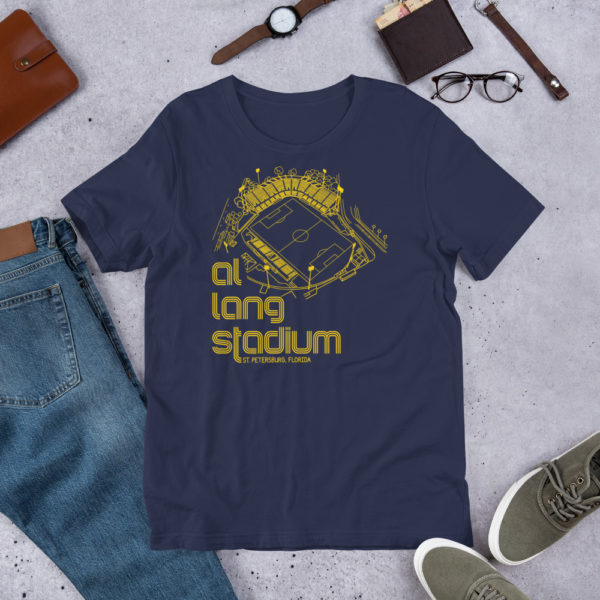 Navy and yellow Tampa Bay Rowdies Fine Line T-Shirt