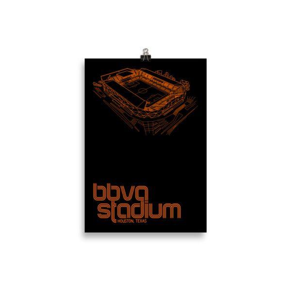 Small BBVA Stadium and Houston Dynamo and Dash soccer print