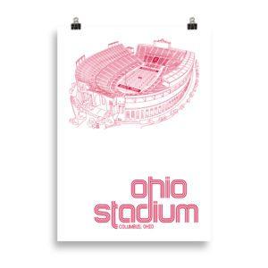 Large Ohio Stadium and Buckeyes Poster