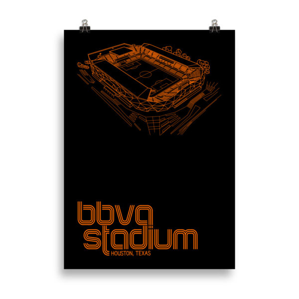 Large BBVA Stadium and Houston Dynamo and Dash soccer print