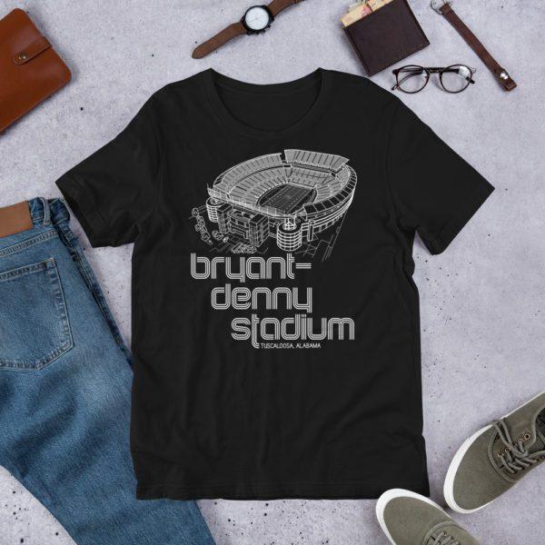 Black and white Bryant-Denny Stadium and Alabama Crimson Tide T-Shirt