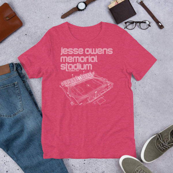 Pink Jesse Owens Memorial Stadium and Ohio State Soccer T-Shirt