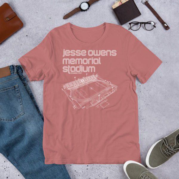 Mauve Jesse Owens Memorial Stadium and Ohio State Soccer T-Shirt