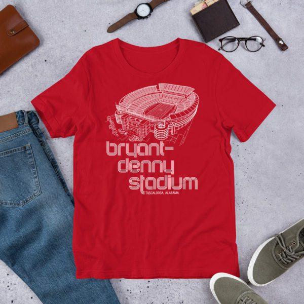 Red and white Bryant-Denny Stadium and Alabama Crimson Tide T-Shirt