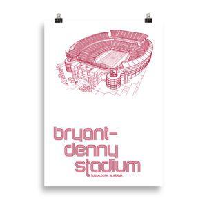 Large Crimson Tide and Bryant-Denny Stadium print